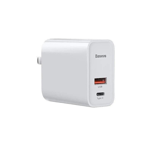 Cốc sạc nhanh PD/QC 3.0 – Củ sạc nhanh đa năng (chuôi dẹt)- Baseus Speed Dual Quick charger 30W ( USB 3.0 + Type C Power Delivery)