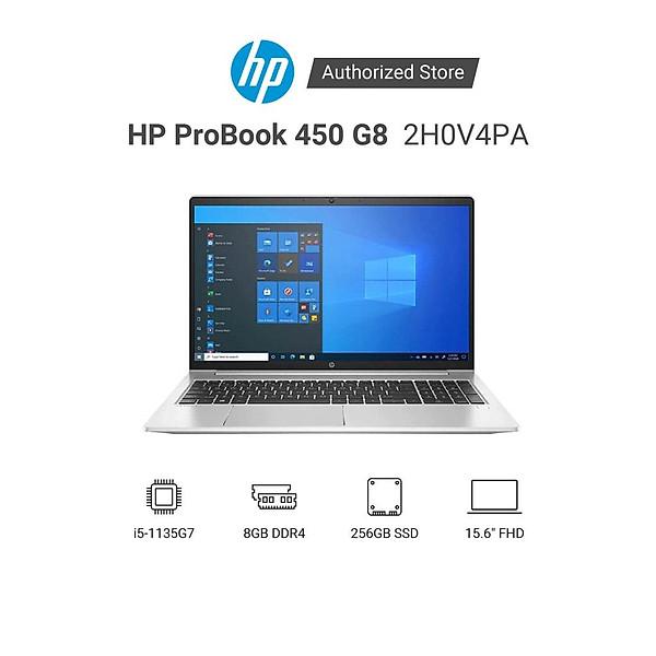 Laptop HP ProBook 450 G8 2H0V4PA i5 1135G7 | 8GB RAM | 256GB SSD | 15.6″ FHD | FP | Win | Bạc – Hàng Chính Hãng