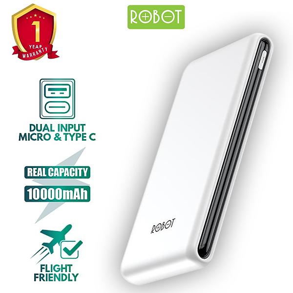 Pin Sạc Dự Phòng ROBOT RT180 10000mAh Thiết Kế Nhỏ Gọn 1 Cổng USB Và 1 Cổng Micro/Type-C – Hàng Chính Hãng