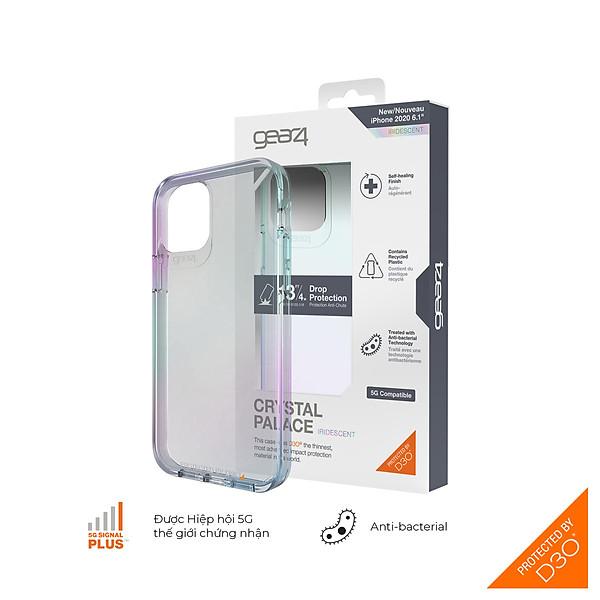 Ốp lưng chống sốc Gear4 D3O Crystal Palace iPhone – Công nghệ chống sốc độc quyền D3O, kháng khuẩn, tương thích tốt với sóng 5G – Hàng chính hãng