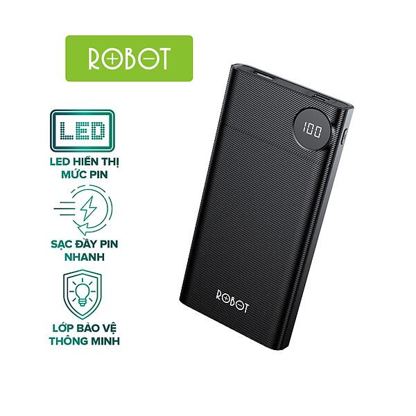 Sạc dự phòng ROBOT RT190 10000mAh thiết kế nhỏ gọn LED hiển thị Pin 2 cổng vào Micro/Type-C và 1 Cổng Ra USB – Hàng Chính Hãng
