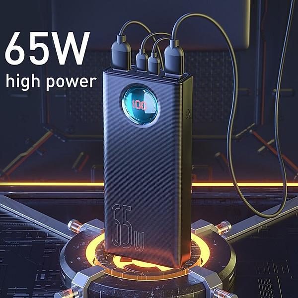 Pin sạc dự phòng Baseus Amblight Digital Display Quick Charge Power Bank (30000mAh, 65W, USB*4 + Type C Input/Output + Lightning + Micro USB)