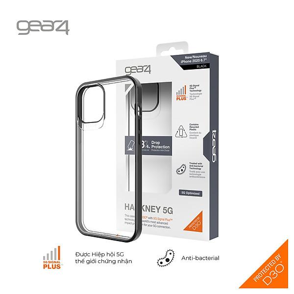 Ốp lưng chống sốc Gear4 D3O Hackney 5G iPhone – Công nghệ chống sốc độc quyền D3O, kháng khuẩn, tương thích tốt với sóng 5G – Hàng chính hãng