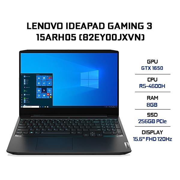 Laptop Lenovo IdeaPad Gaming 3 15ARH05 82EY00JXVN (AMD R5-4600H/ 8GB DDR4 3200MHz/ 256GB SSD M.2 2242 PCIe/ GTX 1650 4GB GDDR6/ 15.6 FHD IPS, 120Hz/ Win10) – Hàng Chính Hãng