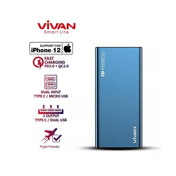 Pin sac du phong VIVAN 10000mAh VPB-F10S 2 Input 3 Output18W Hợp Kim Nhôm Cao Cấp Chính Hãng