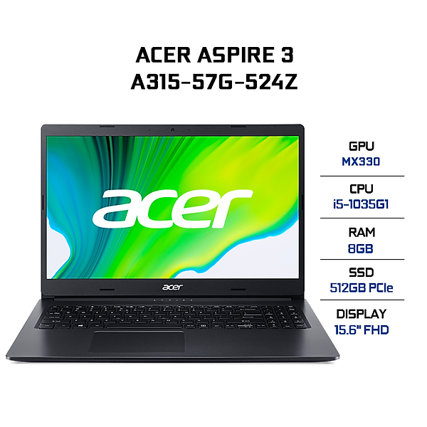 Laptop Acer Aspire 3 A315-57G-524Z NX.HZRSV.009 (Core i5-1035G1/ 8GB (4GB Onboard+4GB) DDR4 2666MHz/ 512GB SSD M.2 PCIE/ MX330 2GB GDDR5/ 15.6 FHD/ Win10) – Hàng Chính Hãng