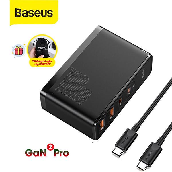 Bộ sạc nhanh Baseus GaN 2 Pro 100W giao diện cổng USB, Type-C, USB -A , USB-C QC3.0, QC4.0 cho điện thoại, laptop