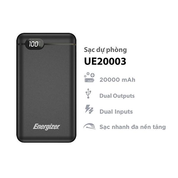 Sạc dự phòng Energizer 20,000mAh/3.7V Li-Polymer -tích hợp 2 cổng Output USB-A tiện dụng giúp sạc cùng lúc 2 thiết bị – UE20003 – Hàng chính hãng