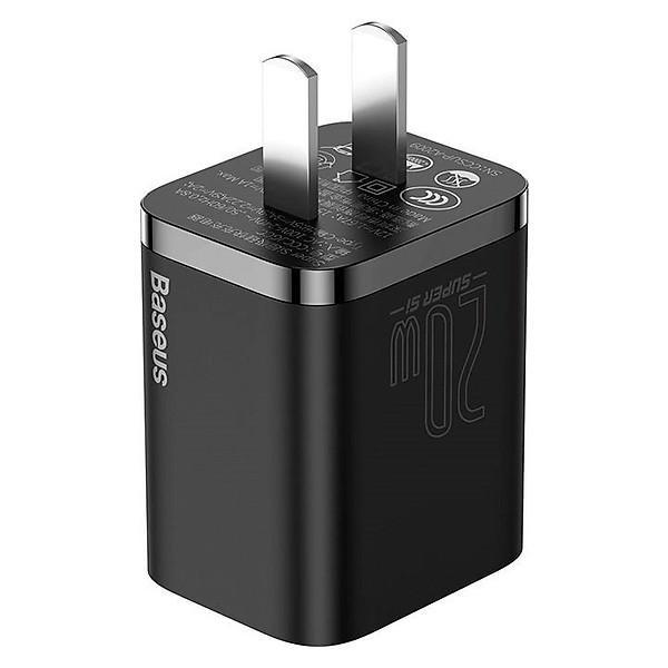 Bộ sạc nhanh, nhỏ gọn Baseus Super Si Quick Charger 20W dùng cho iPhone 12/iP11/XS Max (Type C, 20W/18W, PD/ QC3.0 Quick charger) – Hàng chính hãng