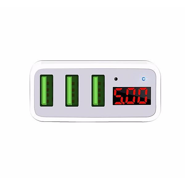 Cốc sạc 3 cổng Hoco C15 3A dành cho IPHONE/IPAD hỗ trợ sạc nhanh- màn hình LCD hiển thị điện áp (trắng) – Hàng Chính Hãng