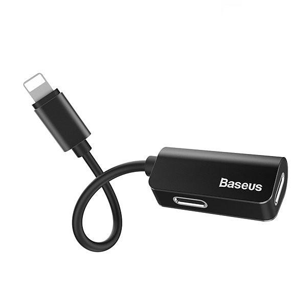 Bộ Adapter chia cổng Lightning thành Jack tai nghe Lightning và sạc Lightning hiệu Baseus L370 cho iPhone iPad – hàng chính hãng