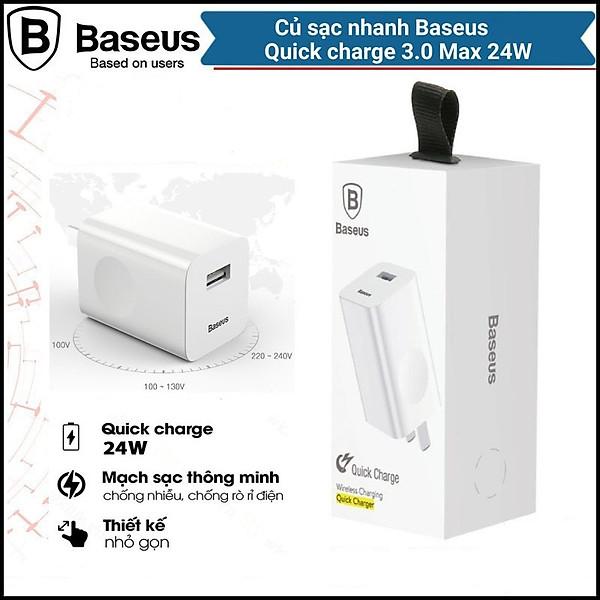 Cốc Củ sạc nhanh Baseus công suất 24W Công nghệ Sạc Nhanh Qualcomm QC 3.0 tự động điều chình dòng sạc