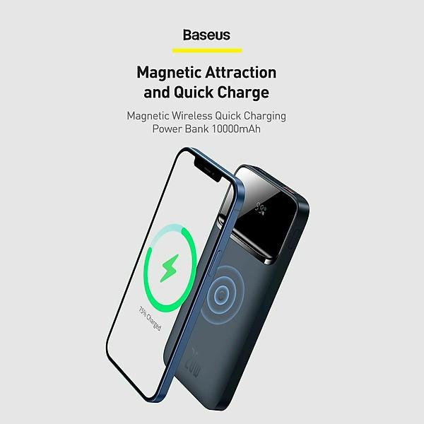 [Mẫu mới 2021]Pin dự phòng sạc không dây tích hợp nam châm Baseus Magnetic Wireless Quick Charging Power Bank (10000mAh)