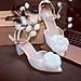 Giày cưới quai sandal gót vuông hoa hồng lụa pha voan 232