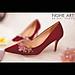 Giày cưới Nghé Art lụa đỏ hoa hồng 309