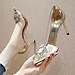 Giày Cao Gót Hoa Đá Mũi Nhọn Phối Mika Sang Chảnh Gót 9p Kèm Tất/Vớ Da Chân