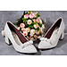 Giày cưới nữ Nghé Art gót vuông  hoa hồng 185