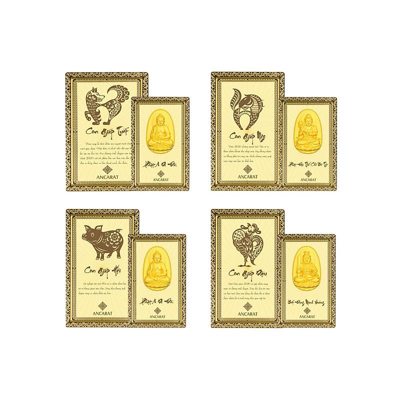 Mặt mạ vàng 24K Phật 12 Con Giáp cầu bình an - ANCARAT