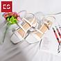 Gia y sandal cao gót Erosska thơ i trang mũi vuông phô i dây quai ma nh cao 3cm EB018 7