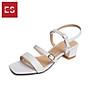 Gia y sandal cao gót Erosska thơ i trang mũi vuông phô i dây quai ma nh cao 3cm EB018 2