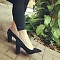 Giày cao gót da lộn mũi nhọn gót trụ 7cm dáng công sở cổ điển C121 - Đen thumbnail