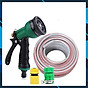 Vòi xịt rửa xe,Vòi phun nước tưới cây tăng áp thông minh 8 chế độ 815576-1 (cút vàng,nối xanh - dây xám) thumbnail