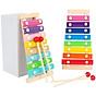 Combo 6 món đồ chơi gỗ an toàn cho bé- phát triển trí tuệ (Đàn gỗ, sâu gỗ, luồn hạt, thả hình 4 trụ, đồng hồ sâu hạt, tháp gỗ) 2