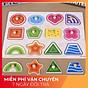 Bảng núm gỗ Hình khối Song ngữ - Đồ chơi Ghép hình Montessori màu sắc cho bé ĐCG thumbnail