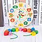 Combo 7 món đồ chơi cho bé phát triển trí tuệ (Đàn gỗ, tháp gỗ, luồn hạt, sâu gỗ, đồng hồ gỗ, thả hình 4 trụ, lục lạc tròn ) 5