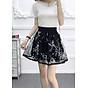 Chân váy xòe dáng ngắn họa tiết Haint Boutique( đen)-freesize cv05 2