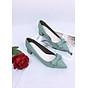 Giày cao gót nơ da mềm cao cấp trụ 4cm màu xanh ngọc thumbnail