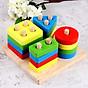 Đồ chơi gỗ lắp ráp Hình khối cho bé tập nhận biết mầu sắc và các hình học cơ bản thumbnail