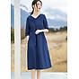 Đầm suông dáng chữ A cổ V tay lỡ xanh than LAHstore, chất thô mềm mát, thời trang phong cách Hàn Quốc thumbnail