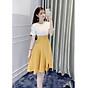 Đầm Công Sở Dáng Suông Eo Ôm Xẻ Chân Váy A028 Màu Vàng Phối Trắng thumbnail
