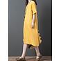 Đầm suông form rộng 2 túi sườn LAHstore, thích hợp mùa hè, thời trang trẻ, phong cách Hàn Quốc (Vàng) 3