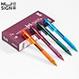 12Pcs Box Nusign Neutral Gel Pen Black Ink 0.5mm Refill Press Type Signing Pen Transparent Colors Student Writing Pens Office School Supplies Stationary thumbnail