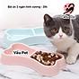 Bát ăn 2 ngăn hình xương cho chó mèo thú cưng (Màu ngẫu nhiên) thumbnail