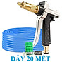Máy bơm Evoucher Bộ dây vòi xịt nước rửa xe, tưới cây , tăng áp 3 lần, loại 20m 206236 đầu đồng, đai+ đai thumbnail