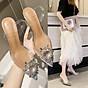 Giày Sandal Nữ Cao Gót Hoa Mặt Trời Trong Suốt Gót 5p Êm Chân kèm Tất Vớ Da Chân - Giày cao gót nữ quai trong hoa đá- mũi nhọn sang chảnh 6