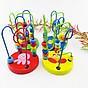 Combo 6 món đồ chơi gỗ an toàn cho bé- phát triển trí tuệ (Đàn gỗ, sâu gỗ, luồn hạt, thả hình 4 trụ, đồng hồ sâu hạt, tháp gỗ) 8