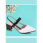 Giày cao gót đế vuông bít mũi có quai hậu đi lại nhiều không đau chân 96108 2