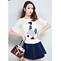 Áo len nữ mỏng nhẹ họa tiết cô gái Haint Boutique Al37 1