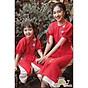 Áo dài đôi cho mẹ và bé gái _ Tafta kết hoa nổi thumbnail