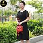 Đầm suông trung niên cao cấp iDiva D14-46, thêu hoa, dáng suông bigsize phù hợp u50 dự tiệc sang trọng thumbnail