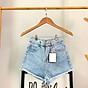 Quần short nữ chất jean cotton lưng cao M06 Julido, thời trangg trẻ trung một màu họa tiết trơn phối rách tua co dãn nhẹ có 3 kích thước 2