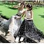 Chân váy lưới tutu dáng dài họa tiết ô vuông free size VAY62 3