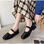 Giày vintage ulzzang quai ngang đế 3cm đen bóng, phong cách vintage retro thumbnail
