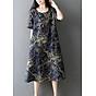 Đầm suông trung niên họa tiết LAHstore, chất thô mềm mát thích hợp mùa hè, phong cách Hàn Quốc (Xanh than họa tiết vàng) 4