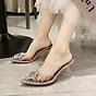 Giày Sandal Nữ Cao Gót Hoa Mặt Trời Trong Suốt Gót 5p Êm Chân kèm Tất Vớ Da Chân - Giày cao gót nữ quai trong hoa đá- mũi nhọn sang chảnh 3