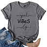 Casual Women Cotton T-Shirt Vibes Letter Print Short Sleeve O-Neck Loose Tee Tops